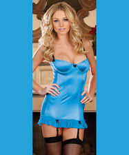 Dreamgirl Lingerie Turquoise Blue Chemise Garter Slip Dress & G-String Set Small