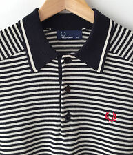 FRED PERRY BLACK & WHITE STRIPED CLASSIC KNITTED POLO SHIRT XS mod casuals ska