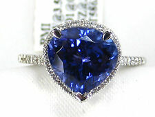 Natural Tanzanite Ring PAVE Halo 14K White gold 3.96ct AAAA Certified App $9,468