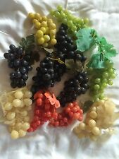 Huge Lot Artificial Decorative Fake Fruit 11 Grape Clusters Rubber Plastic bx34