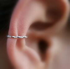 Fake Piercing - Ear Cuff Conch Cuff  Cartilage Cuff - Textured Sterling Silver