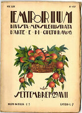 Rivista Emporium Settembre 1929 N. 417 Pino Pinetti Porcellana Richard Ginori