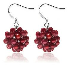 Unique! .925 Sterling Silver & Cranberry Pearl Earrings Snowball Design
