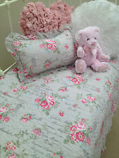 2 pce Girls French Provincial Floral Eliza Cot Quilt Cushion Baby Nursery