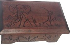 Wooden Handmade Carved Jewelry Box - African Safari Animals