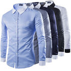 Stylish Mens Casual Button Slim Fit Long Sleeve Casual Formal Top Dress Shirts