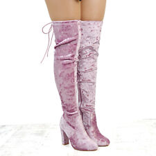 WOMENS VELVET OVER THE KNEE BLOCK HEEL LACE UP LADIES THIGH HIGH STRETCH BOOTS