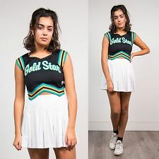 WOMENS VINTAGE CHEERLEADER TOP SCOOP NECK SLEEVELESS 90'S HIGH SCHOOL USA 8