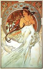 MUSIC, 1898 Alphonse Mucha Art Nouveau Reproduction CANVAS PRINT 24x36 in.