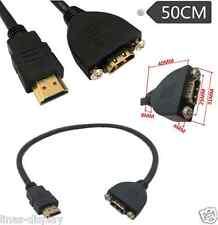Hdmi Cable de Tipo de montaje del panel con tornillos macho a hembra Cable de Extensión Hdmi 50cm
