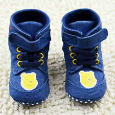 Baby Boy Blue denim Winnie the Pooh Snow Boots Crib Shoes Size 6-12 Months-/b
