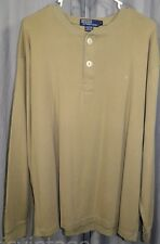 Vintage Polo Ralph Lauren Made USA Henley Big 1/4 Buttons Athletic Shirt Large
