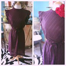 Vintage 1940s style Dress Plum Purple Pinup Swing Rockabilly M L 30s 40s
