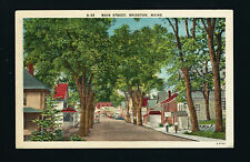 Bridgeton Maine ME 1947 Linen Style Main Street View of Tree Lined St, Stores