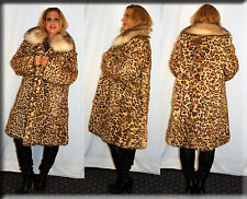 New Leopard Print Rabbit Fur Coat Fox Collar Size Extra Large 14 16 XL
