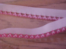 ELASTIC 1/2 inch WHITE with HOT PINK Hearts Edged Elastic 5yds. NEW