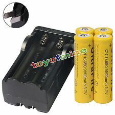 4pcs18650 3.7V 9800mAh Yellow Li-ion Rechargeable Battery + 18650 Charger