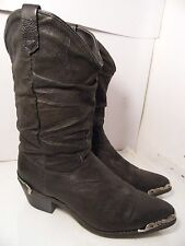 Dingo Black Distressed Cowboy Western Boots Metal Inserts Womens Size 7.5 M