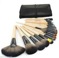 24PCS Wood Makeup Brush Set Cosmetic Make up Brushes + Pouch Bag Case Black UK