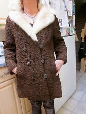 chocolate brown Persian lamb with large fur collar knee length coat S M