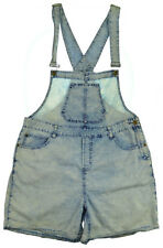 Womens Overalls Shorts 2XL Acid Wash Light Blue Bib Jeans Demin Jumper Grunge