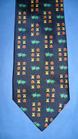 CAVENAGH SILK TIE GOLD/NAVY/RED/GREEN INSECT DESIGN -  MADE IN THE UK