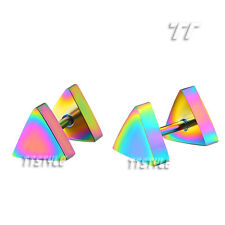TTstyle Surgical Steel Triangle Fake Ear Plug Earrings 6mm-8mm A Pair