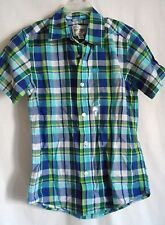 BOYS 5 6 S BLUE PLAID S/S BUTTON UP CASUAL DRESS SHIRT NWT ~THE CHILDREN'S PLACE