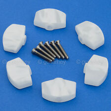 NEW (6) LARGE Buttons For SCHALLER Tuning Key Tuners M6 Mini - WHITE PEARLOID