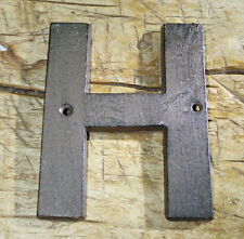 """Cast Iron Industrial LETTER H Sign Rustic Brown 5"""" tall Alphabet"""
