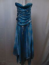 Yves Teal Blue & Gold Metallic Formal Dress Prom Homecoming Strapless XS/S #1861