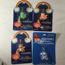 Care Bears Attachable Key Chain Zipper Necklace Charms Vintage Lot Of 4