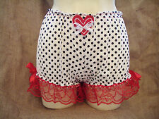 White black polka dot,red lace short bloomers! Pin-up,rockabilly,50's,vintage!