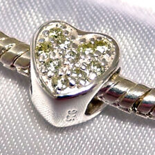 925 Sterling Silver  'HEART with Jonquil CZ'  Crystal European Charm Bead