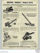 1955 PAPER AD Doepke Model Scale Toy Caterpillar Tractor Bulldozer Barber Greene