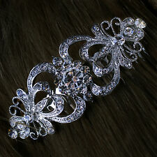 STUNNING SILVER BRIDAL WEDDING RHINESTONES CYRSTAL BRIDE DIAMANTE HAIR COMB CLIP