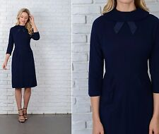 Vintage 50s 60s Navy Blue Mod Dress Wool Bow 3/4 Slv Medium M