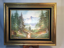 Vintage Oil Painting of Mountains, Lake and Trees Nicely Framed Artist K Bonner