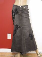 BISOU BISOU  GRAY JEAN & BLACK LACE LONG MAXI MERMAID 5 POCKET DENIM SKIRT SZ 2