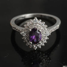 Purple Amethyst White Topaz 925 Sterling Silver Engagement Ring Size 6# J508