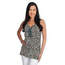 NEW - Love, Carson by Carson Kressley Printed Knit Sleeveless Beaded Neck Top 1X