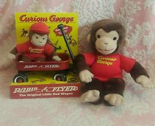 "*CURIOUS GEORGE Vintage RADIO FLYER WAGON With 11"" GUND DOLL New in Box PLUSH*"