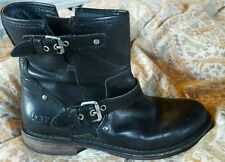"UGG AUSTRALIA ""Fabrizia"" Leather Riding Moto Motorcycle Boots Womens 8"