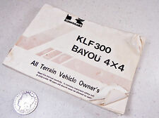 86 KAWASAKI KLF300 BAYOU OWNERS OPERATION MANUAL