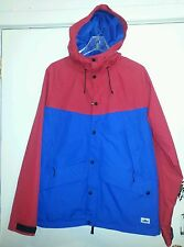 "PENFIELD MENS ""CLARKDALE"" 2 TONE HOODED RAIN JACKET RED/COBALT SIZE: M"