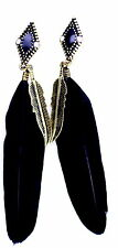 Super lovely black feather and bronze leaf dangle earrings