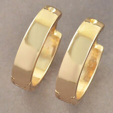 Pretty New Ladies Smooth & Shiny 9K Yellow Gold Filled Round Hoop Earrings