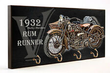 1932 HARLEY DAVIDSON RUM RUNNER MOTORCYCLE WOOD 4 KEY HANGER HOLDER USA MADE