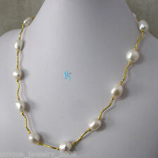 """21"""" 11-13mm White Baroque AA Freshwater Pearl Necklace Metal Tube G"""