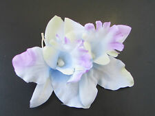 Pastel Blue Lilac Orchid Flower Hair Comb Bridesmaid 1950s Rockabilly Silver 698